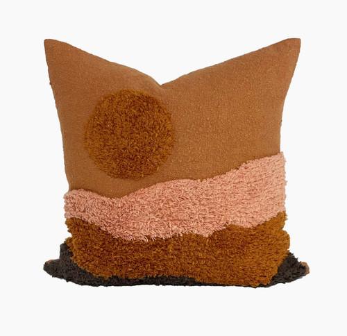 Tufted Rust Sunset Pillow