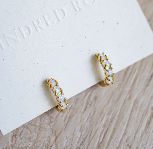 Opal Gold Huggie Earrings