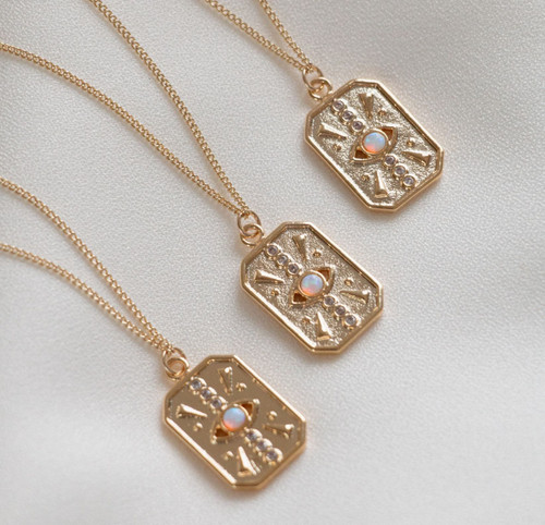Evil Eye Gold Opal Tag Necklace