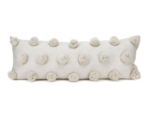 Cream Lumbar Pom Pom Pillow Cover