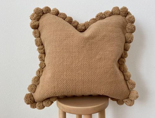 Clay Pom Pom Square Pillow Cover