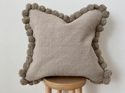 Ash Pom Pom Square Pillow Cover