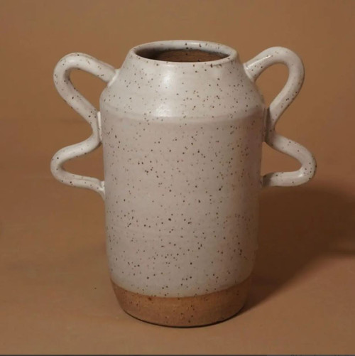 Wavy Handle Ceramic Vase