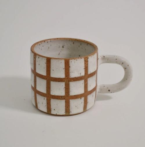 White Grid Ceramic Mug