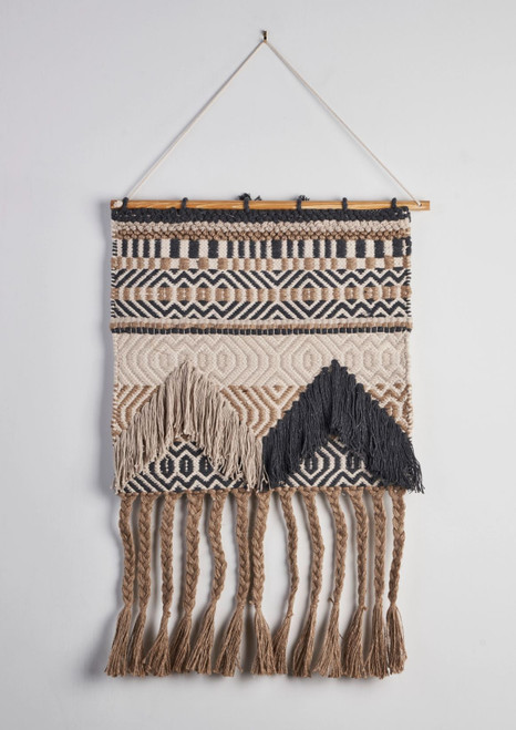 Beige + Charcoal Fringed Wall Hanging