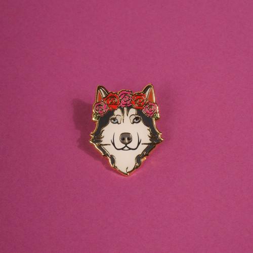 Husky Flower Crown Enamel Pin