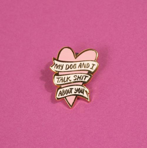 My Dog and I Heart Enamel Pin
