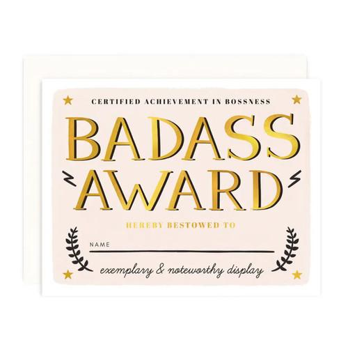Badass Award Greeting Card