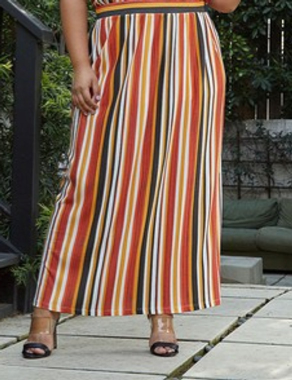 Elastic Waist Striped Maxi Skirt
