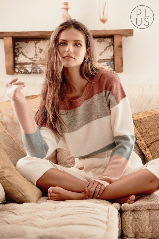 Mauve Gray Multi Sweater Top