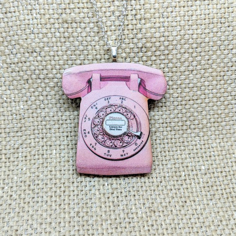 Pink Telephone Necklace