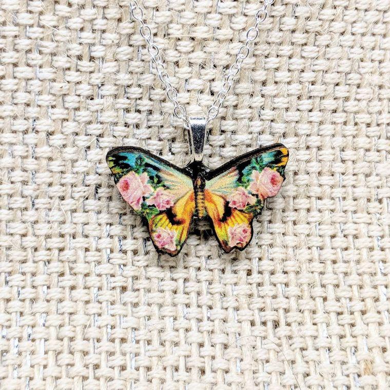 Tiny Rose Butterfly Necklace