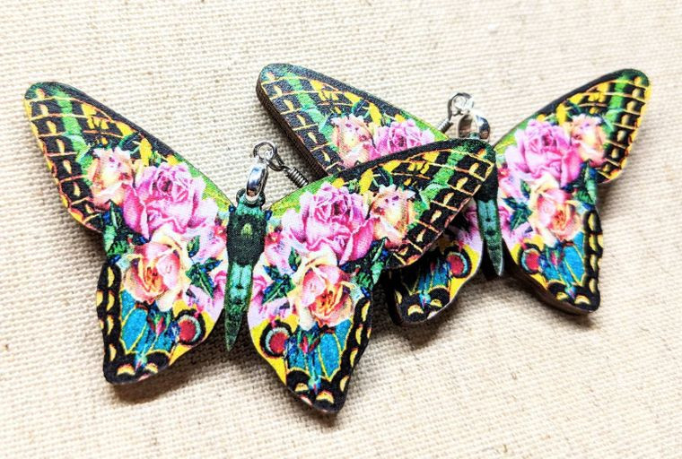Pink Yellow Butterfly earrings