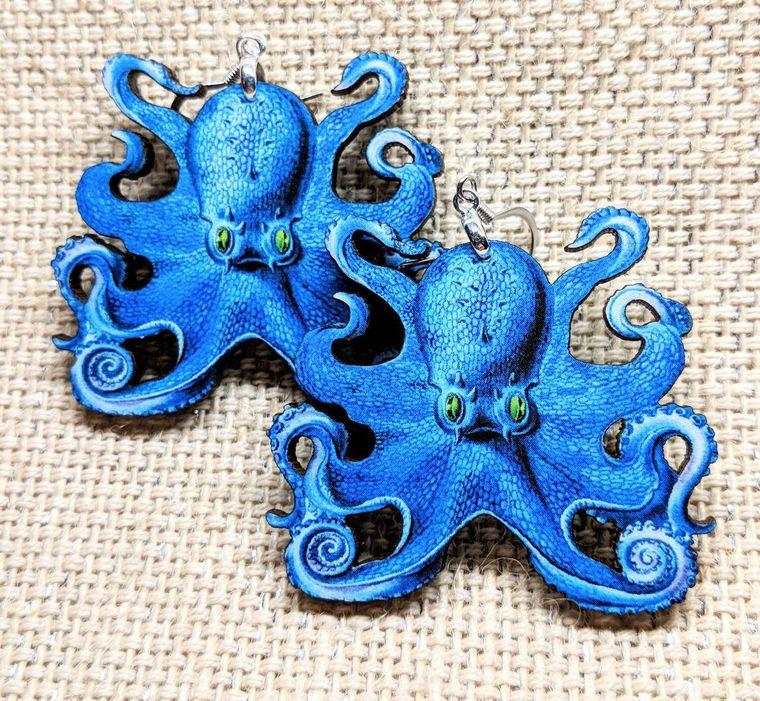 Blue Octopus Earrings