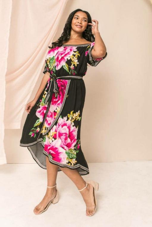 Petrita Black Floral Dress