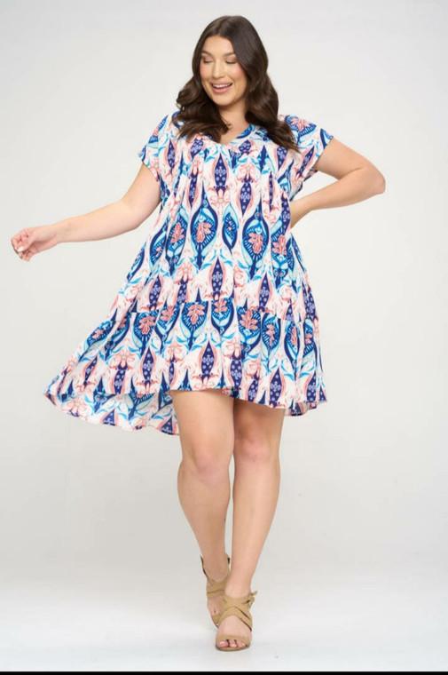 V neck Tiered Bottom Dress
