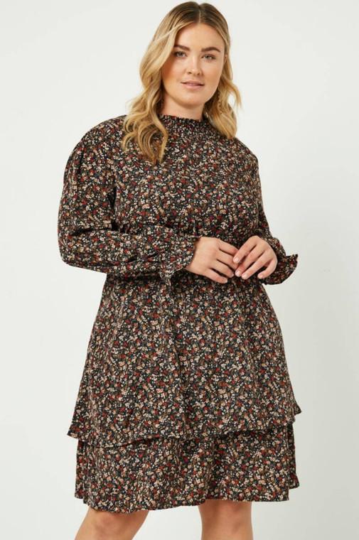 Floral Smock Neck Mini Dress