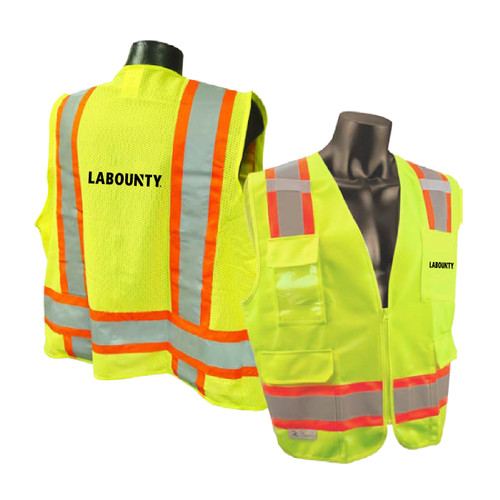LaBounty Two Tone Safety Vest Safety Green
