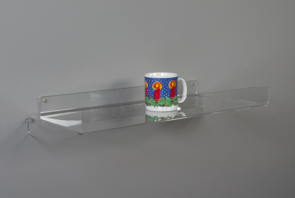 Clear acrylic retail shelf for wall with front lip.