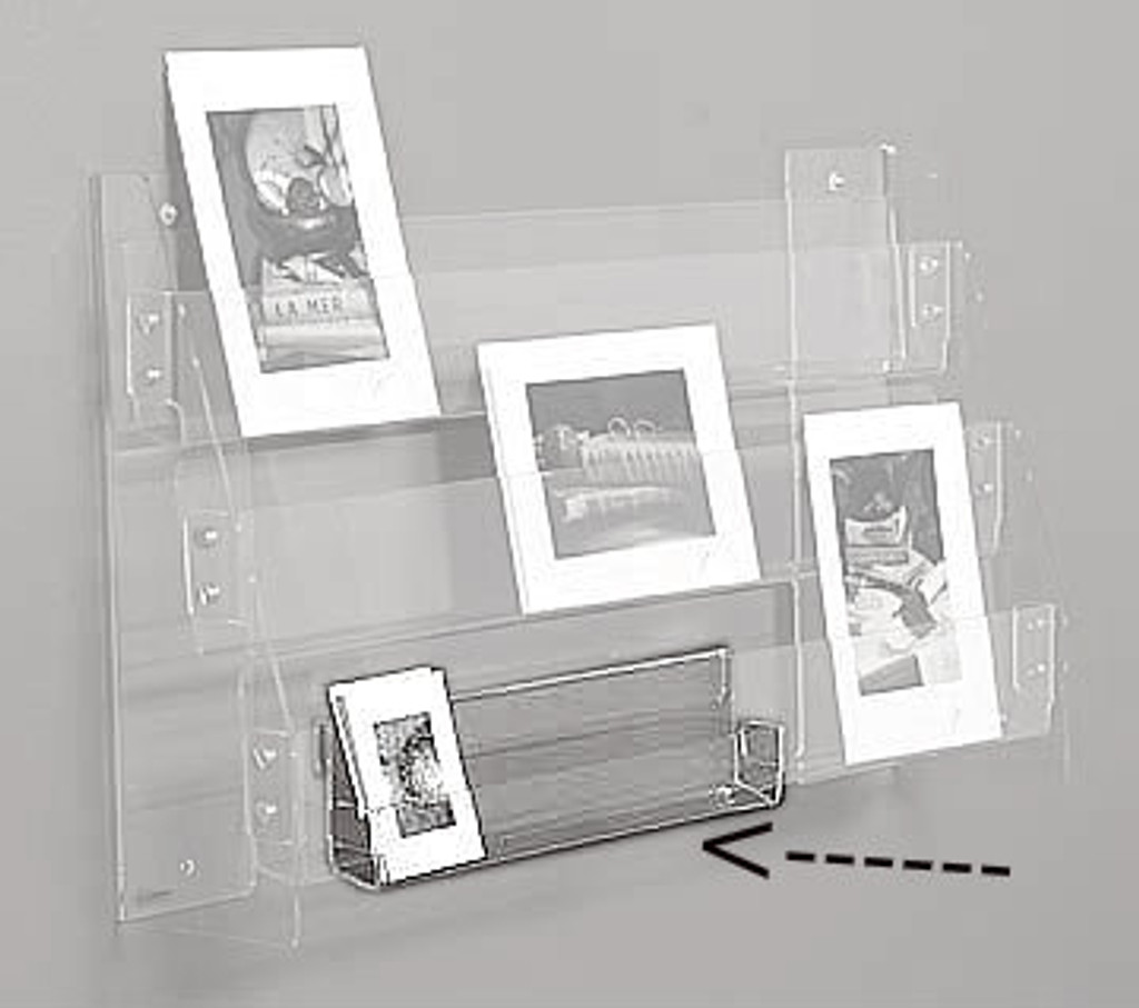 """Clear acrylic 12"""" wide clip for small card display. To clip on to another shelf."""