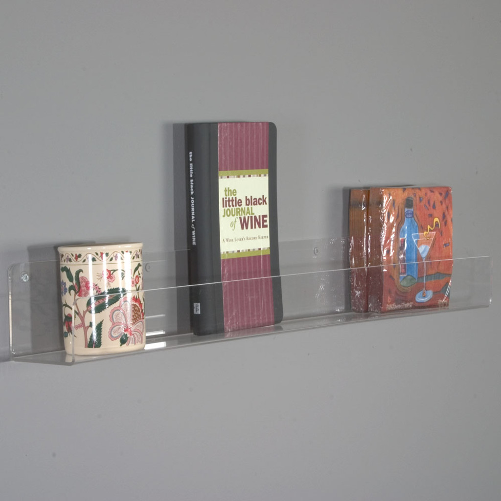 This Flat Bottom Shelf Made From High Quality Polished Acrylic Displays Your Merchandise Simply And With