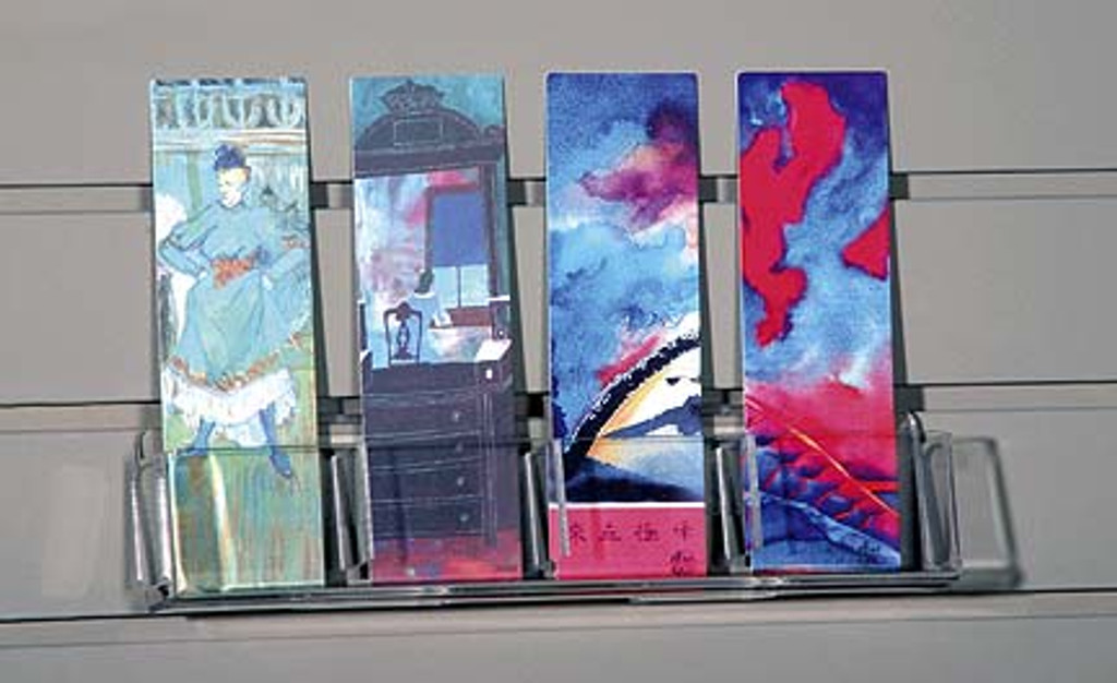 Clear acrylic 4-pocket shelf for slatwall: use for bookmarks, tags, and other small items