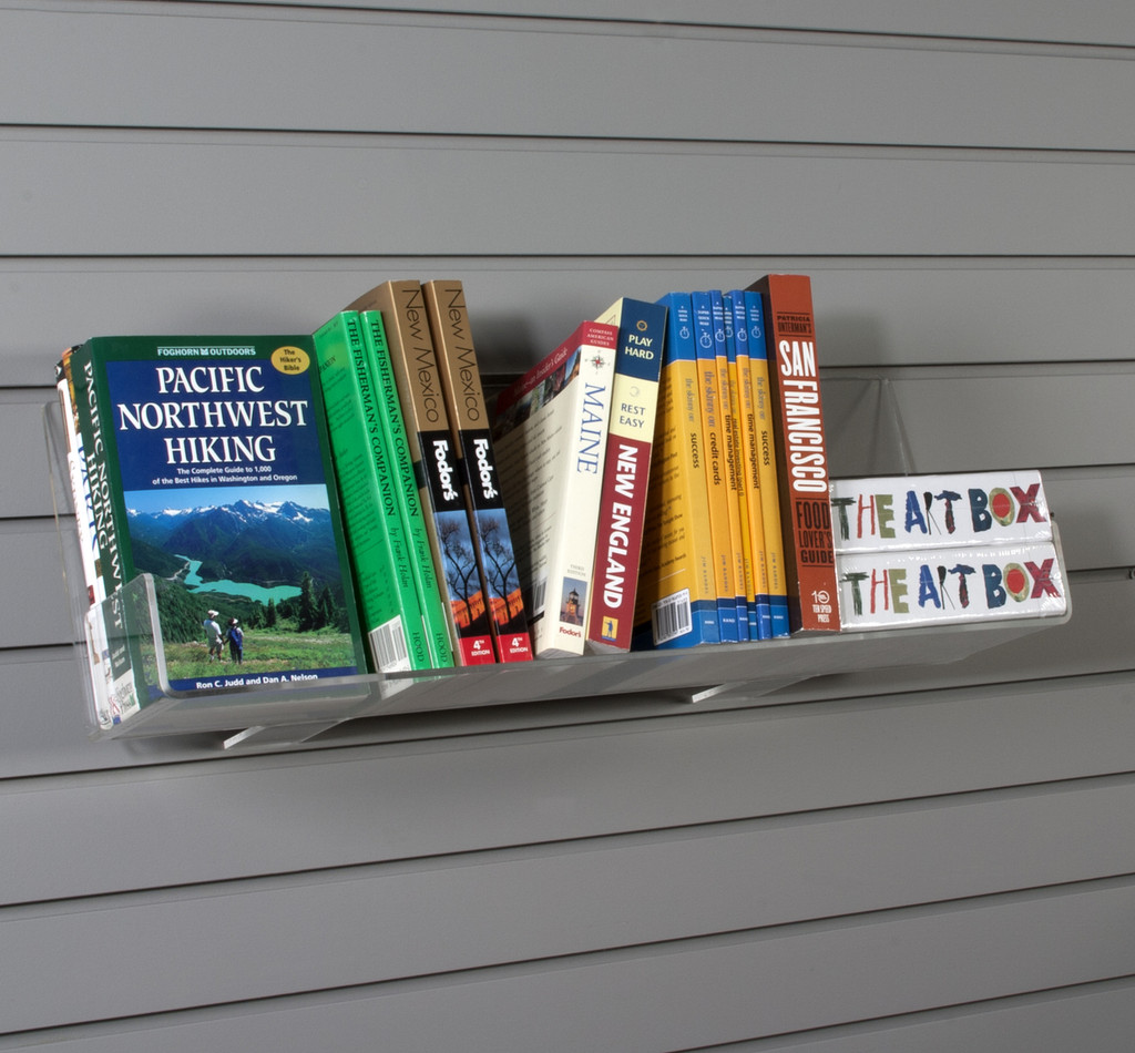 Display books and other merchandise face out or spine out on this heavy duty shelf. Ends keep merchandise in place.