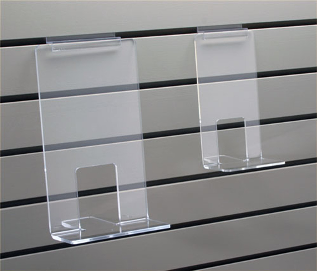 This clear acrylic face out book shelf is strong enough for paperbacks or bestseller hard covers.