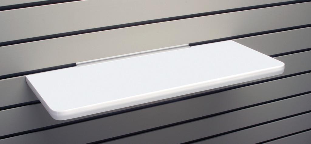 Laminate shelf for slatwall, available in black or white.