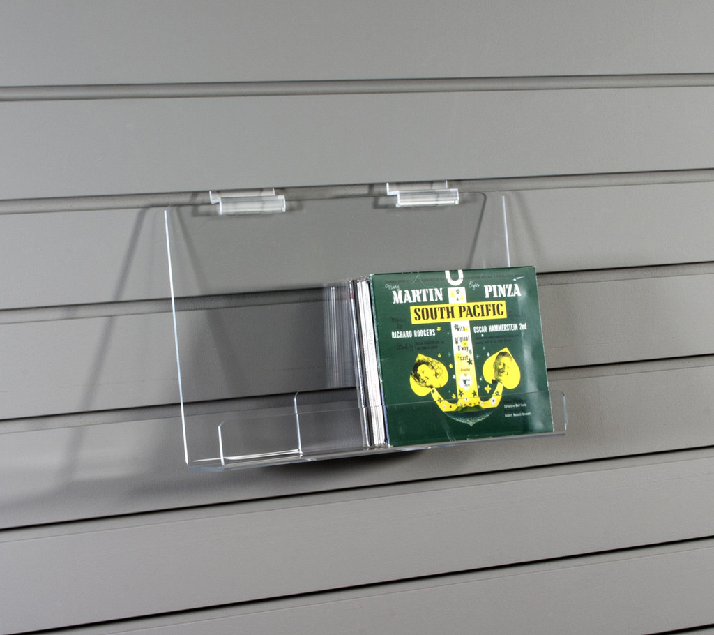 Clear acrylic slatwall shelf for a variety of items.
