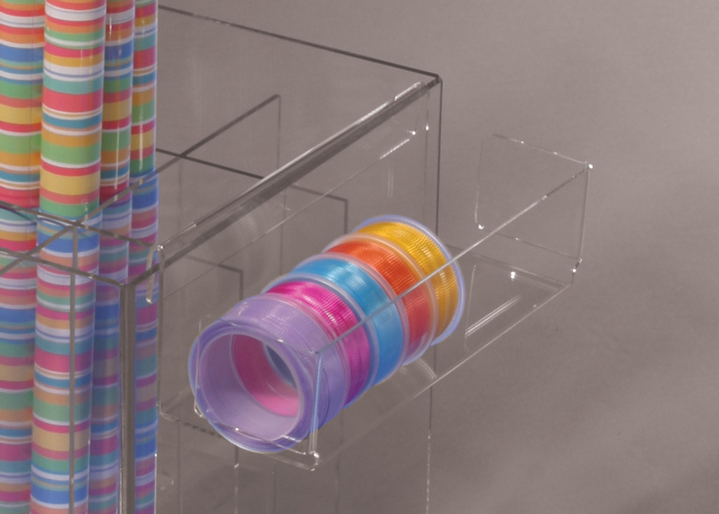 Clear acrylic display shelf for ribbon and gift accessories the clips on to the side of our 8555 clear box