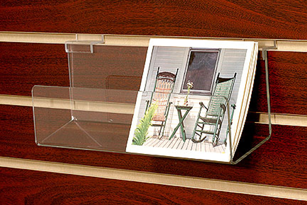 """Clear acrylic 14"""" wide slatwall shelf with lip for boxed notecards, CDs, DVDs, books."""