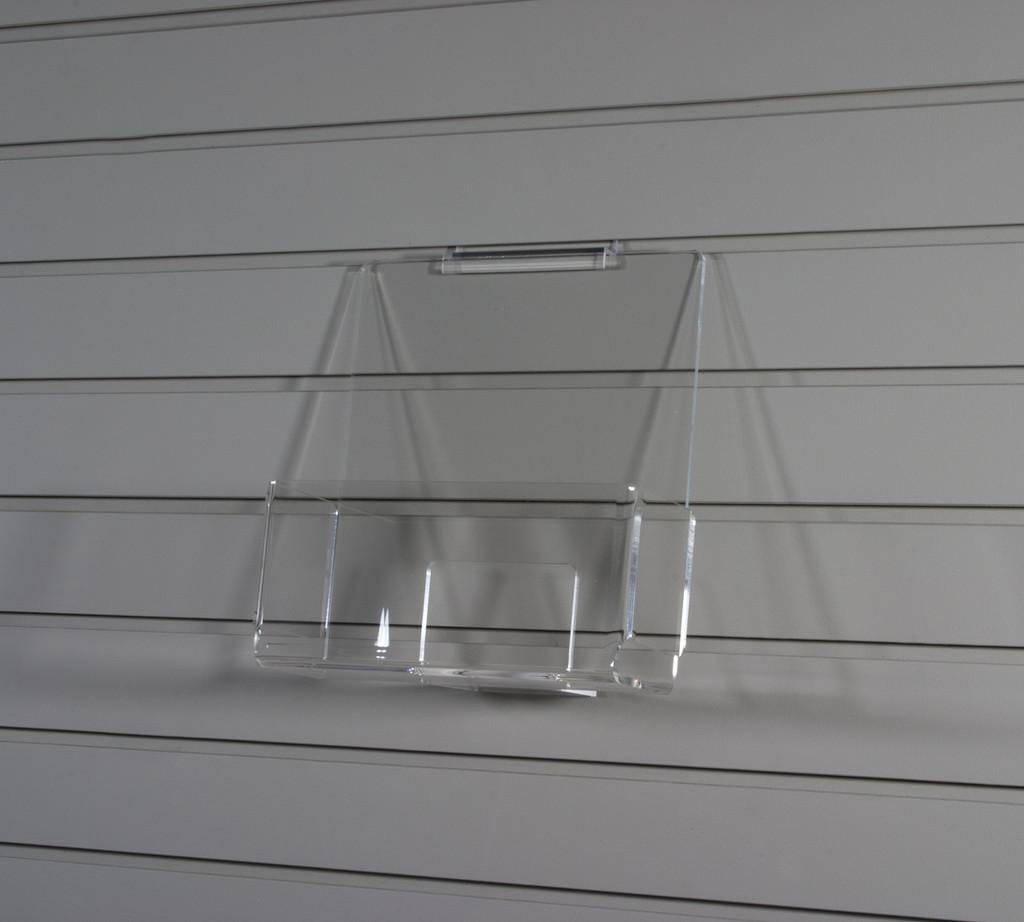 Clear acrylic slatwall bin for magazines, brochures, etc.