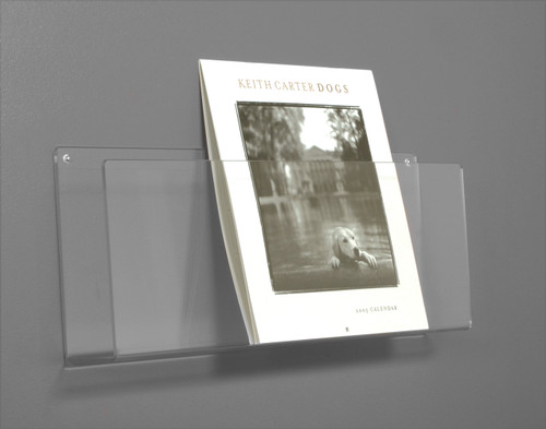 Clear acrylic shelf for wall mounting - good for magazines, calendars, and larger format graphic items.