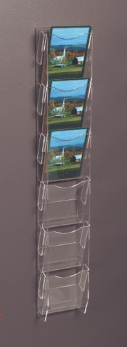 Clear acrylic six pocket wall ladder for displaying postcards, greeting cards, and other printed materials.