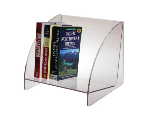 Clear acrylic book shelf.