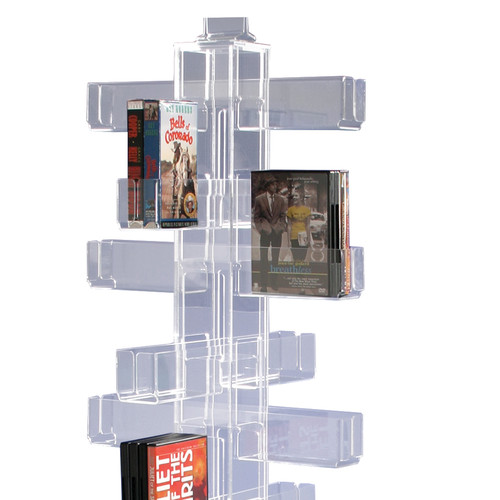 Clear acrylic space-saving card rack for cards, books, and any number of other items.