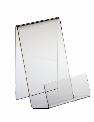 """Clear acrylic table-top display for a single book title. Book rests on the 2-1/2"""" deep base and the 7"""" angled back holds it upright. 2"""" high front lip keeps covers from curling and prevents book from sliding off. Strong enough for paperbacks and bestseller hard covers."""