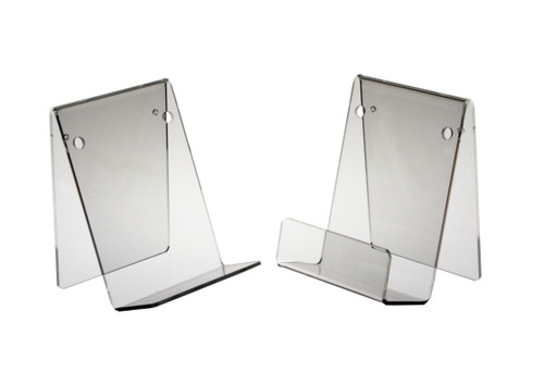 Clear acrylic table top book holder - without a lip.