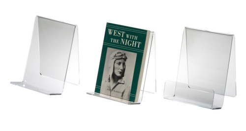 Clear acrylic table top book holder.