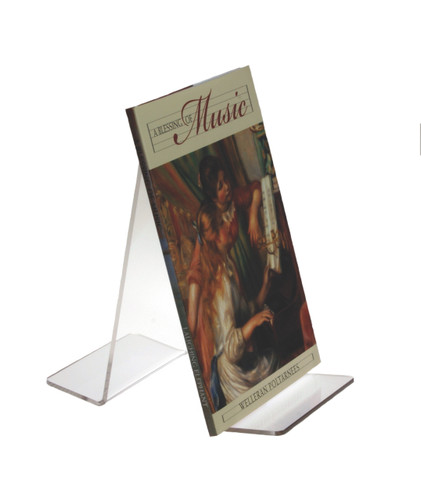 Clear acrylic countertop book holder for two faceout books. Perfect for a center aisle table or top of shelf display.