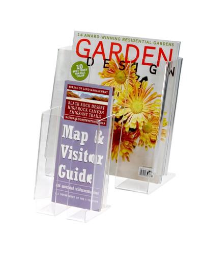 Clear acrylic tri-fold brochure rack for countertop.