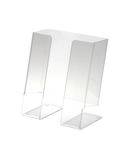 Clear acrylic countertop brochure rack for half-size brochures.