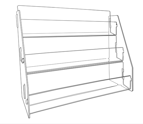 Clear acrylic countertop postcard display - three levels. Ready to assemble 8945