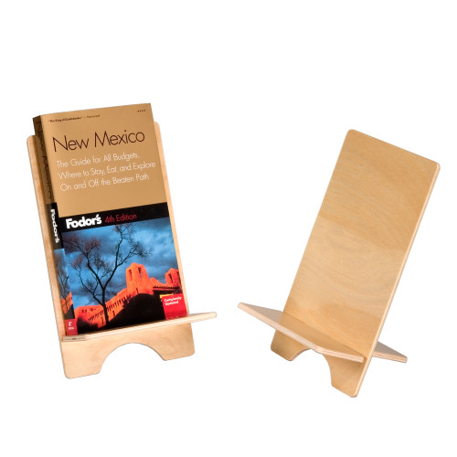 This birch plywood easel is an attractive neutral holder for displaying books, artwork, and mounted signs on a countertop or table.