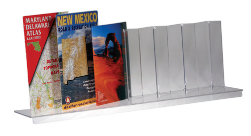 This clear acrylic shelf insert is sized for large format products like road atlases, large calendars, and matted prints for retail display.