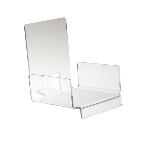 These clear acrylic shelf holds multiple DVDs and books securely in place for countertop display.