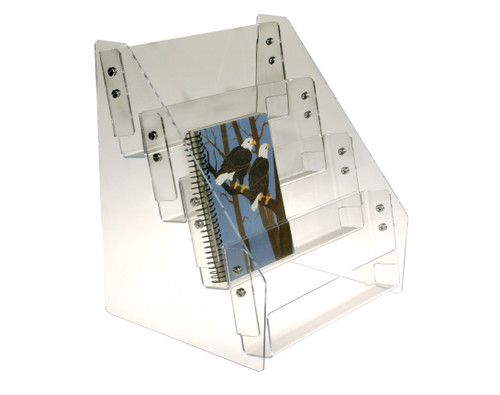 Clear acrylic four-tiered countertop rack sized for tall products; bookmarks, DVDs, or 5 x 7 cards.