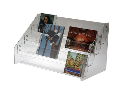Four 4 Tier Level Clear acrylic countertop display for books and cards