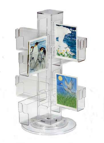 Clear acrylic countertop spinner for greeting carts and post cards.